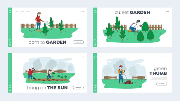Ensemble de modèles de page de destination de travail de jardinage