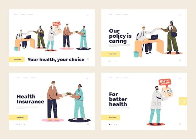 Ensemble de modèles de pages de destination d'assurance maladie avec des médecins et des patients