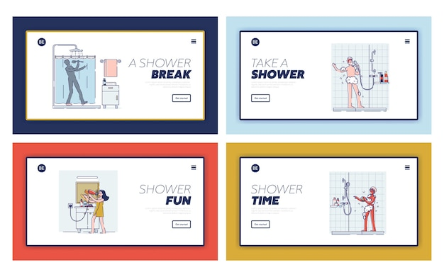 Ensemble de modèles de pages de destination avec des gens heureux chantant dans la salle de bain. personnages de dessins animés prenant une douche ou un bain