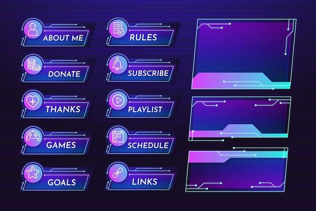Ensemble de modèles de panneaux de flux twitch