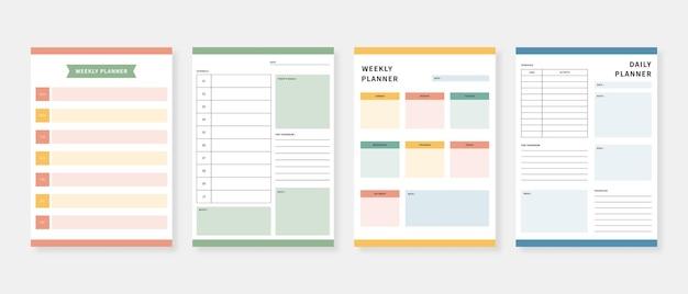 Ensemble de modèles de planificateur moderne. ensemble de planificateur et liste de choses à faire. modèle de planificateur mensuel, hebdomadaire et quotidien.