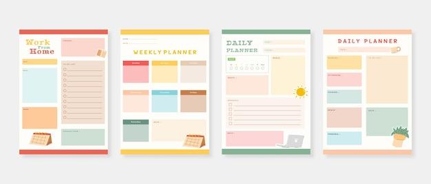 Ensemble de modèles de planificateur moderne ensemble de planificateur et liste de tâches m