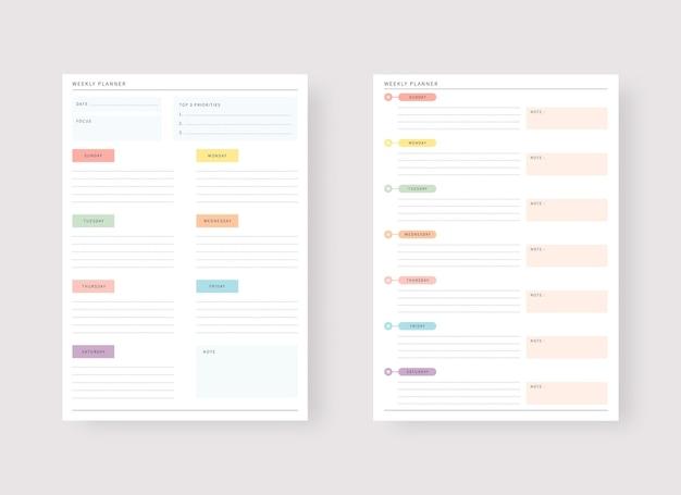 Ensemble de modèles de planificateur moderne ensemble de planificateur et de liste de tâches modèle de planificateur hebdomadaire