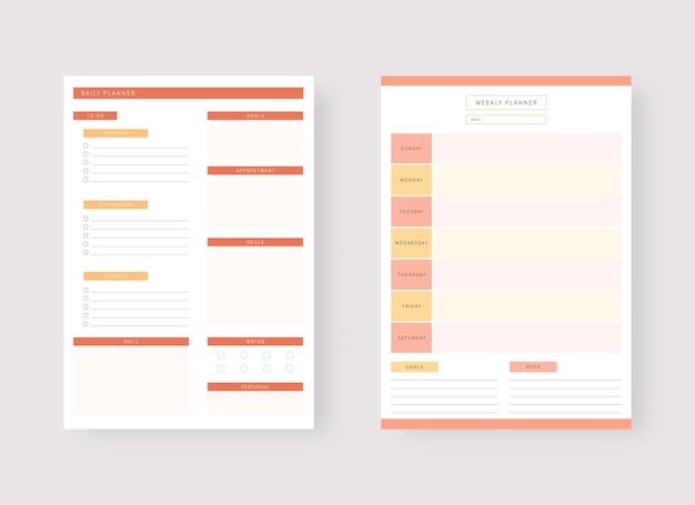 Ensemble de modèles de planificateur moderne ensemble de planificateur et liste de tâches modèle de planificateur quotidien et hebdomadaire