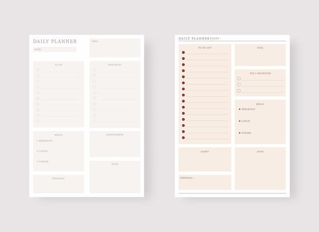 Ensemble de modèles de planificateur moderne ensemble de planificateur et de liste de tâches modèle de planificateur quotidien
