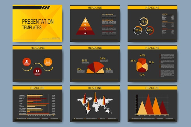 Ensemble de modèles pour les diapositives de présentation. entreprise moderne avec graphique et graphiques.