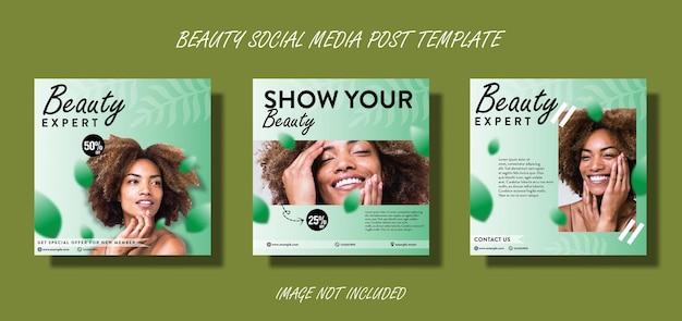 Ensemble de modèles de promotion de publication sur les médias sociaux expert en beauté
