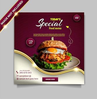 Ensemble de modèles de publication de bannière instagram de promotion de médias sociaux de nourriture de luxe