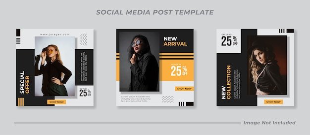 Ensemble de modèles de publication instagram de médias sociaux