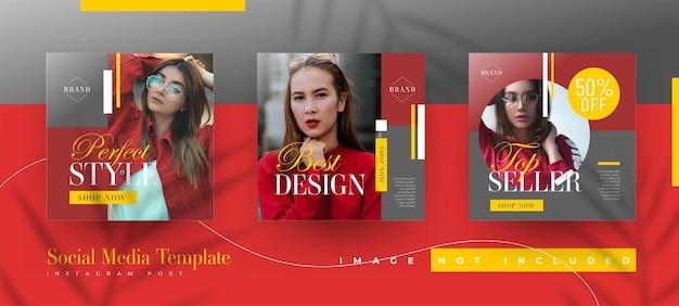 Ensemble de modèles de publication instagram de vente de mode