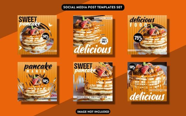 Ensemble de modèles de publication sur les médias sociaux culinaires ou de flye