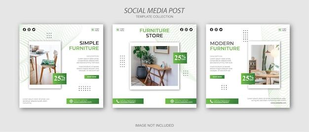 Ensemble de modèles de publication de médias sociaux instagram de meubles