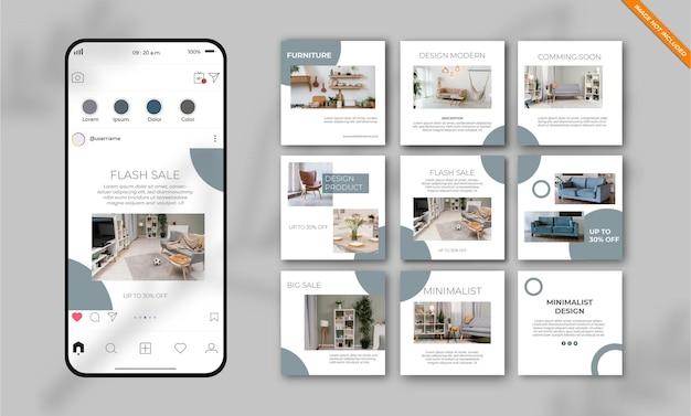 Ensemble de modèles de publication de médias sociaux instagram meubles