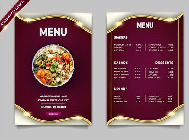 Ensemble de modèles de publication de salades de cuisine moderne de luxe