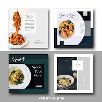 Ensemble de modèles de publications sur les médias sociaux élégants et minimalistes pour spaghettis de pâtes