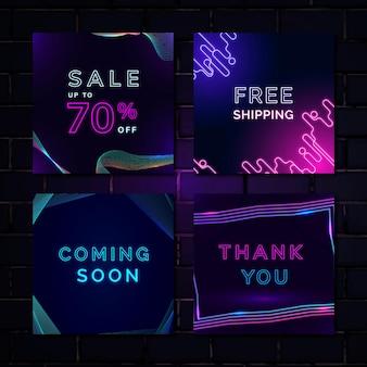 Ensemble de modèles de publicité au néon de vente
