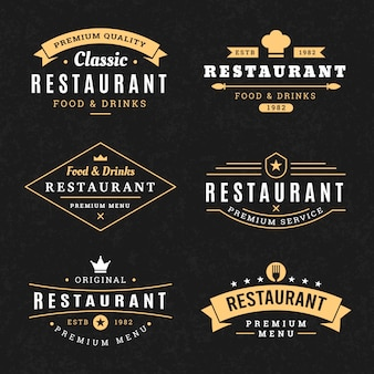 Ensemble de modèles de restaurant logo vintage