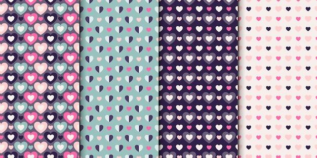Ensemble de modèles sans couture de 4 dessins avec des coeurs. collection de motifs avec des coeurs.
