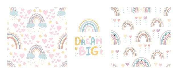 Ensemble de modèles sans couture arc-en-ciel mignon et lettrage rêve grand papier numérique