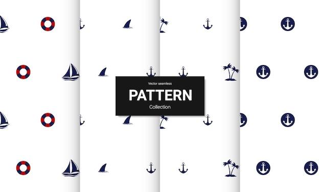 Ensemble de modèles sans couture bleus. textures nautiques sans soudure de vecteur.