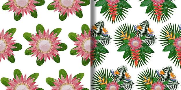 Ensemble de modèles sans couture de bouquet tropical pour les impressions textiles
