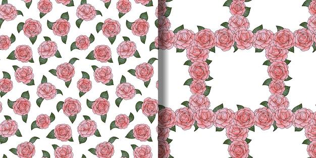 Ensemble de modèles sans couture de contour de camélia papier peint romantique floral pour les cartes de voeux d'impressions textiles