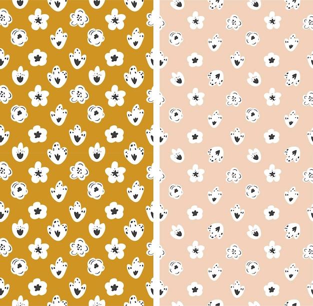 Ensemble de modèles sans couture dans un style floral. illustration vectorielle