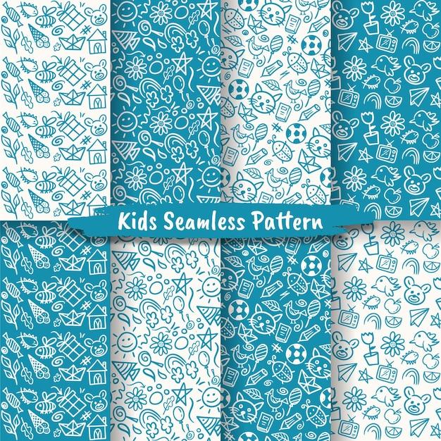 Ensemble de modèles sans couture dessinés à la main pour les enfants, doodle kids seamless patterns