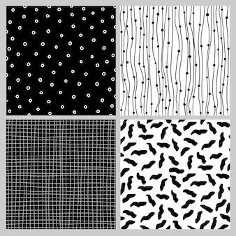 Ensemble de modèles sans couture en doodle noir et blanc