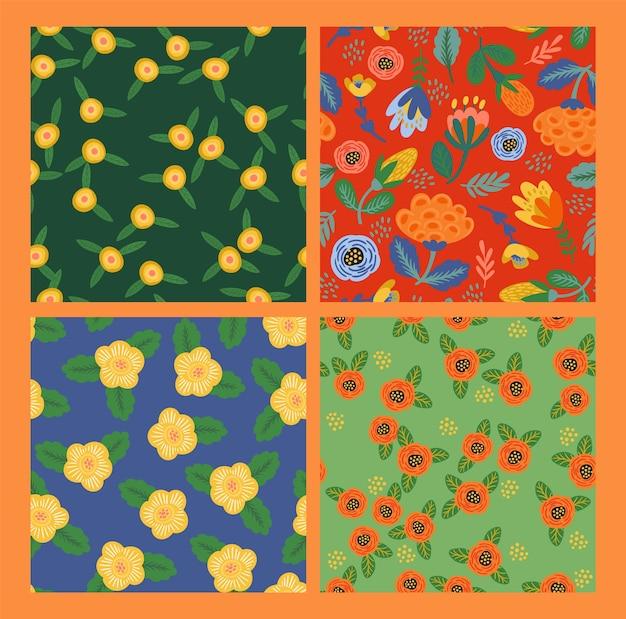Ensemble de modèles sans couture floraux folkloriques. conception abstraite moderne pour papier, couverture, tissu, rythme et autres utilisateurs