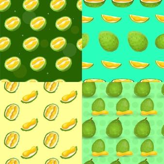 Ensemble de modèles sans couture frais durian, style cartoon