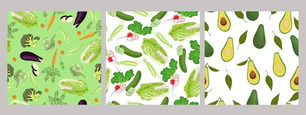 Ensemble de modèles sans couture de légumes