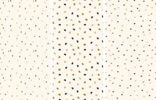 Ensemble de modèles sans couture. motifs géométriques. de petites formes abstraites sont disposées au hasard. illustration vectorielle