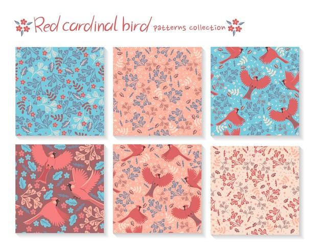 Ensemble de modèles sans couture avec oiseaux cardinaux rouges et avec des éléments floraux