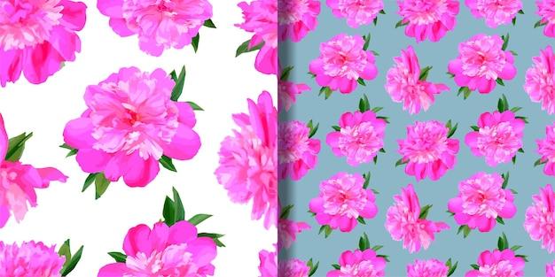 Ensemble de modèles sans couture de pivoine collection d'arrière-plans de fleurs dans un style aquarelle