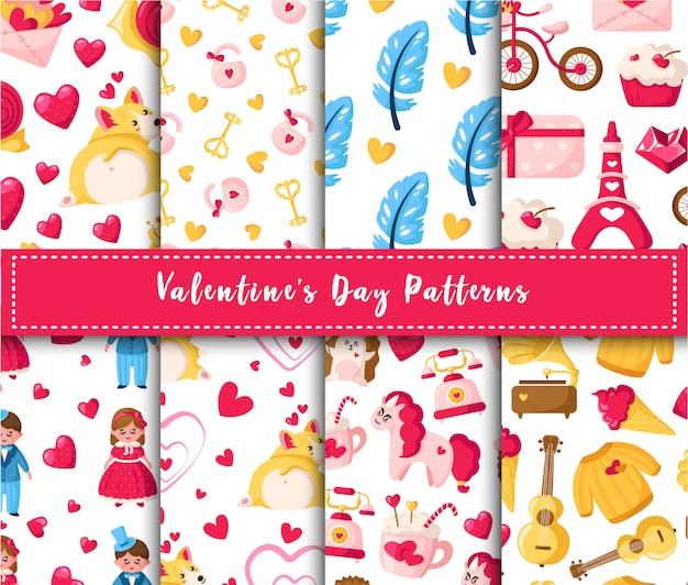 Ensemble de modèles sans couture saint valentin - dessin animé kawaii fille et garçon, chiot corgi, licorne, plumes, coeurs