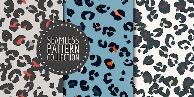 Ensemble de modèles sans couture de taches de léopard dessinés à la main