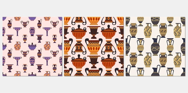 Ensemble de modèles sans couture de vases grecs anciens