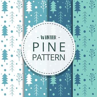 Ensemble de modèles sans soudure arbre pin hiver dessinés à la main