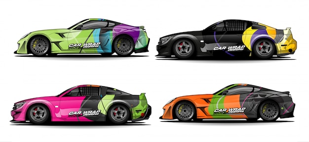 Ensemble de modèles simples d'enveloppe de voiture colorée