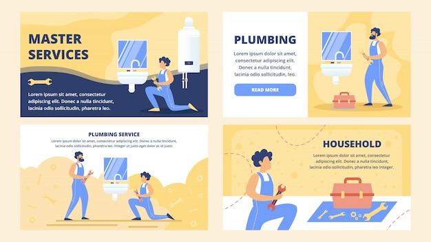 Ensemble de modèles de site web plat de service de plomberie
