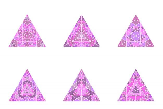 Ensemble de modèles de symbole coloré triangle isolé pyramide