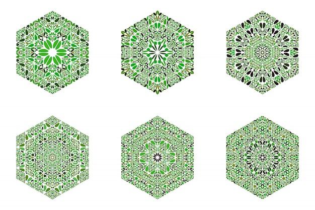 Ensemble de modèles de symbole hexagone ornement floral abstrait orné