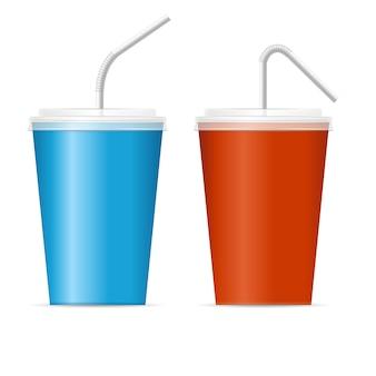 Ensemble de modèles de tasse de papier. rouge et bleu.