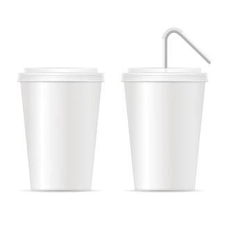 Ensemble de modèles de tasse de papier.