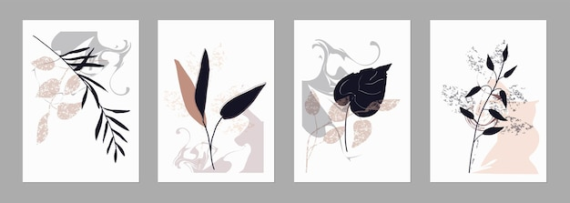 Ensemble de modèles tendance formes abstraites et éléments botaniques couleurs pastel minimalisme