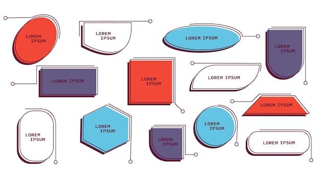 Ensemble de modèles de titres de légendes modèle de légendes futuristes boîtes de cadre de texte de ligne numérique et cal