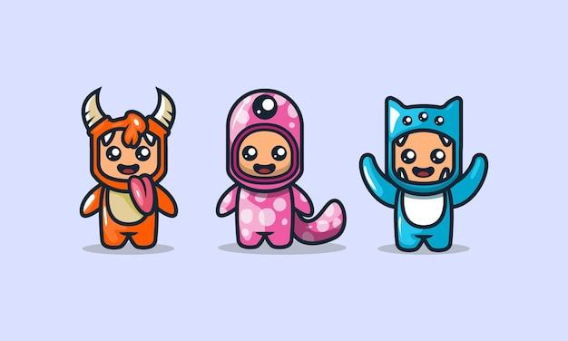 Ensemble de modèles de vecteur de conception de mascotte de costume de monstre mignon