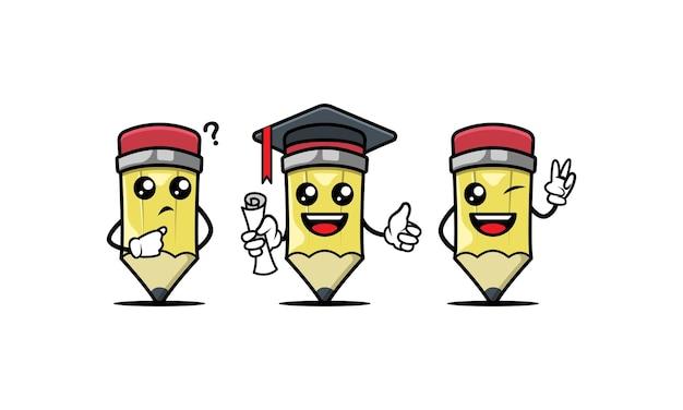 Ensemble de modèles de vecteur mignon crayon mascotte design illustration