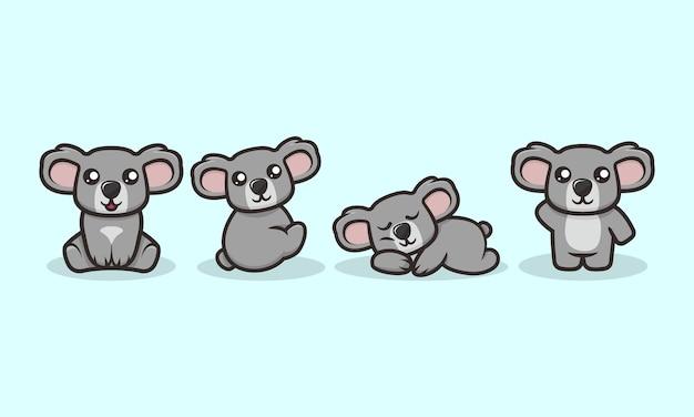 Ensemble de modèles de vecteur mignon koala mascotte design illustration